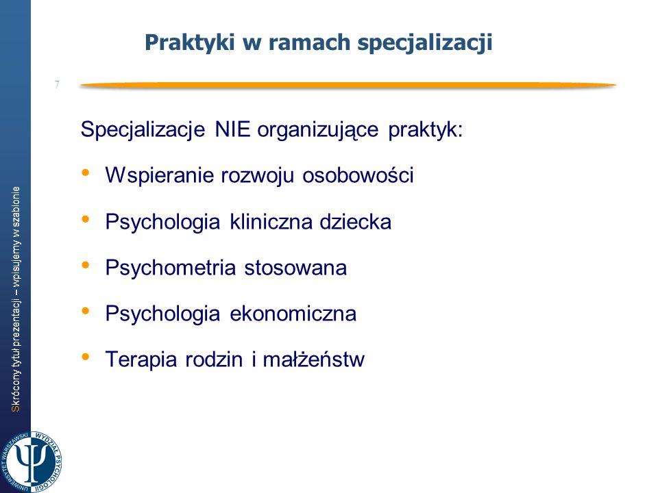 Praktyki w ramach specjalizacji