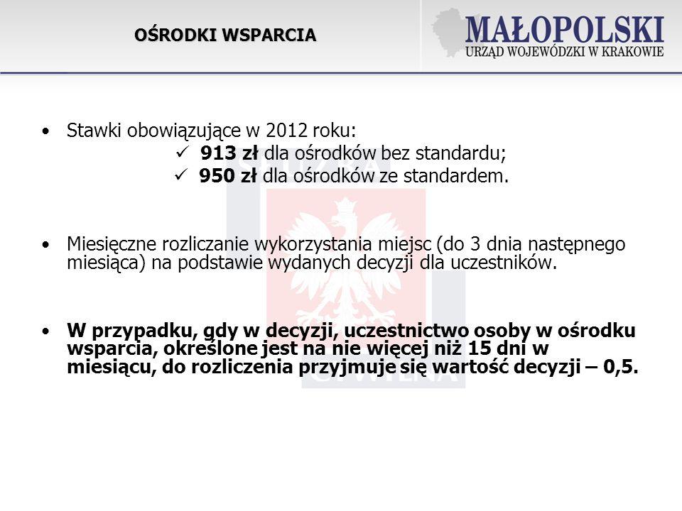 Stawki obowiązujące w 2012 roku: 913 zł dla ośrodków bez standardu;