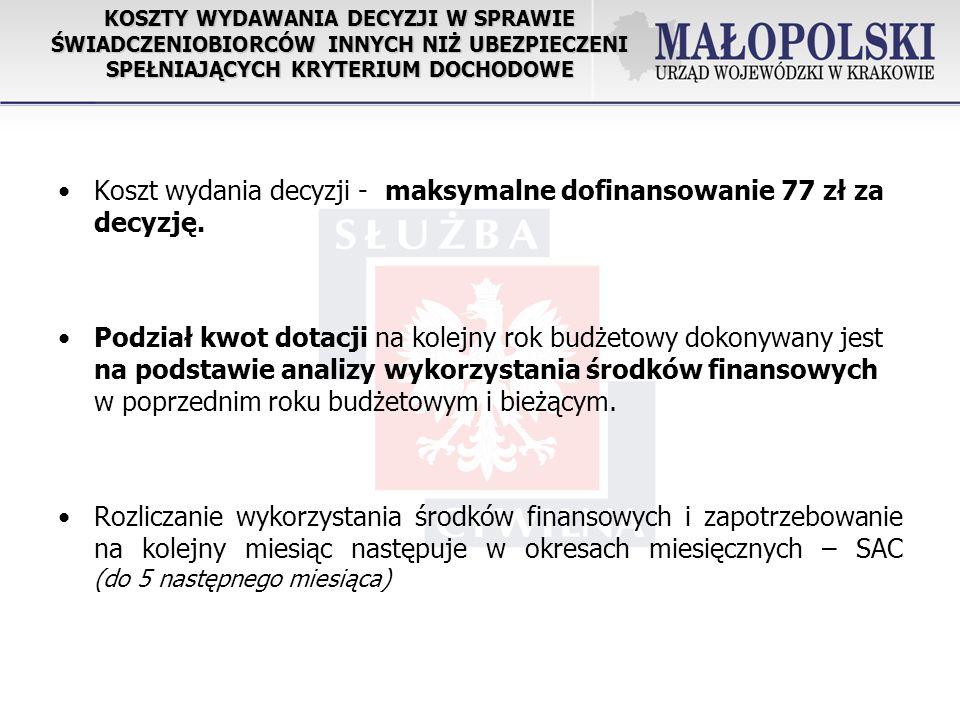 Koszt wydania decyzji - maksymalne dofinansowanie 77 zł za decyzję.