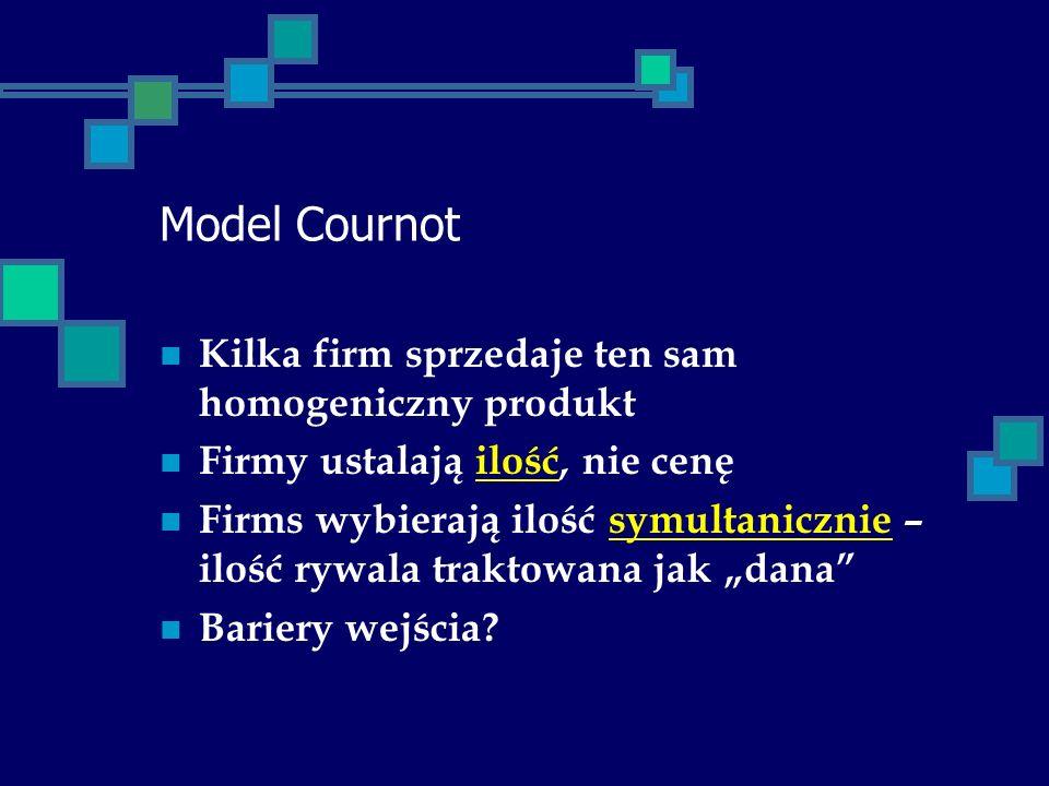 Model Cournot Kilka firm sprzedaje ten sam homogeniczny produkt