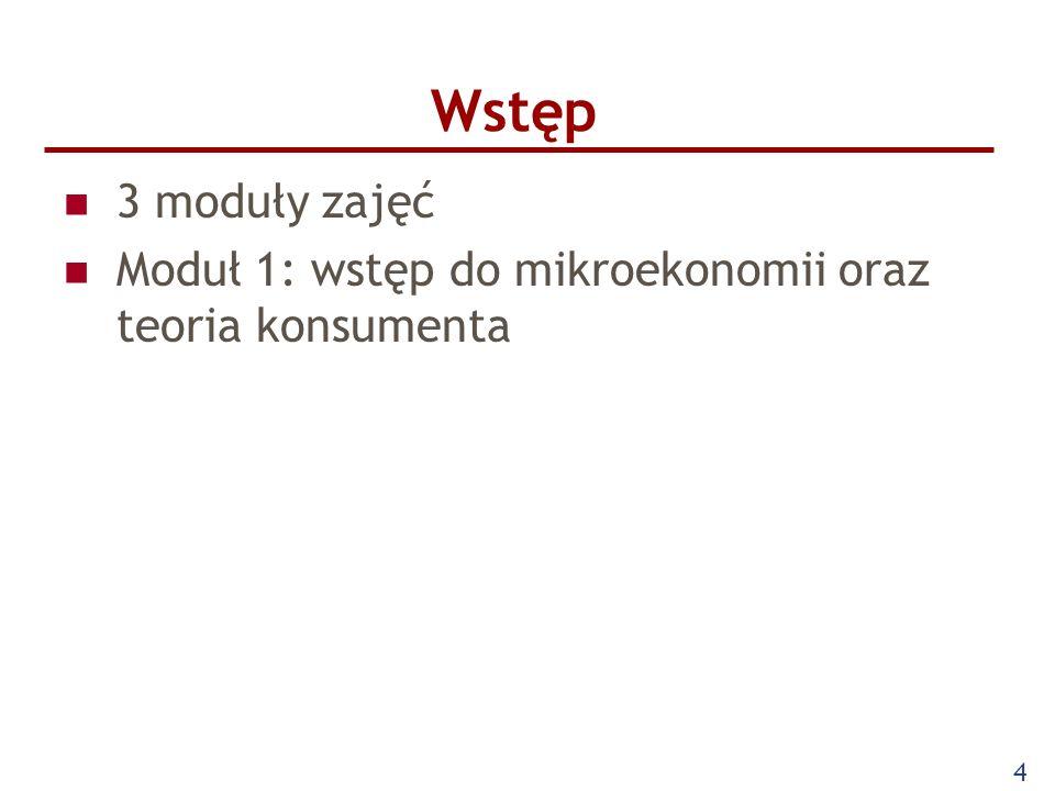 Wstęp 3 moduły zajęć Moduł 1: wstęp do mikroekonomii oraz teoria konsumenta