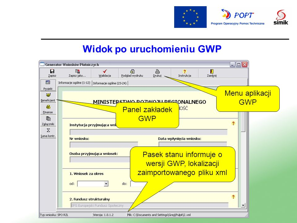 Widok po uruchomieniu GWP