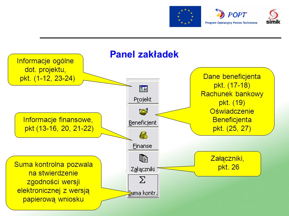 Panel zakładek Informacje ogólne dot. projektu, pkt. (1-12, 23-24)