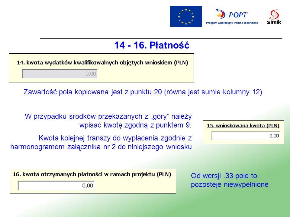 14 - 16. Płatność Zawartość pola kopiowana jest z punktu 20 (równa jest sumie kolumny 12)