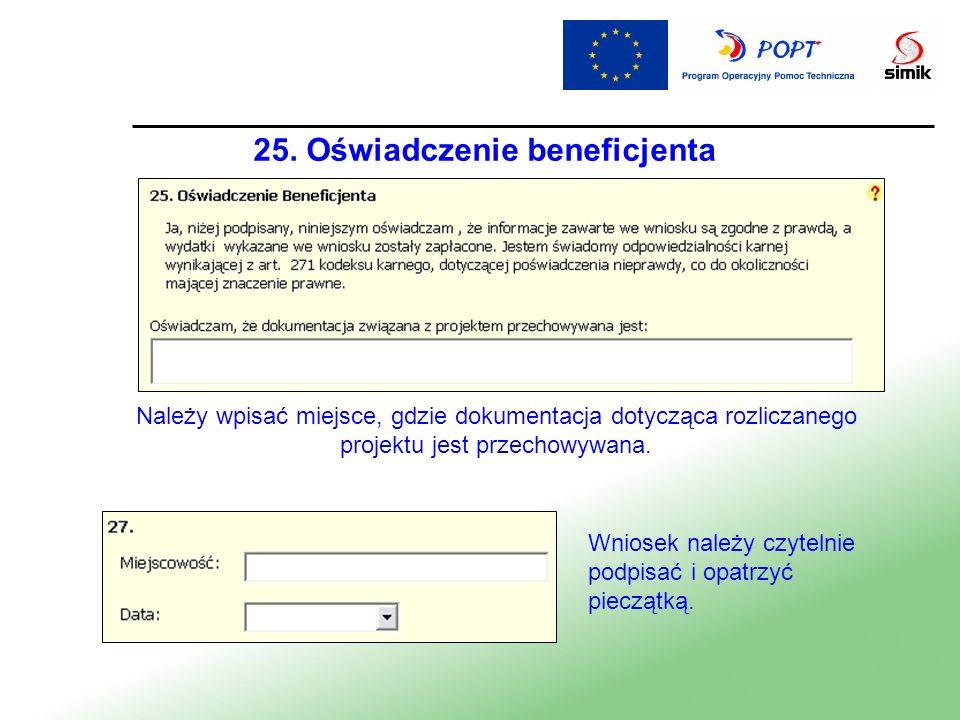 25. Oświadczenie beneficjenta