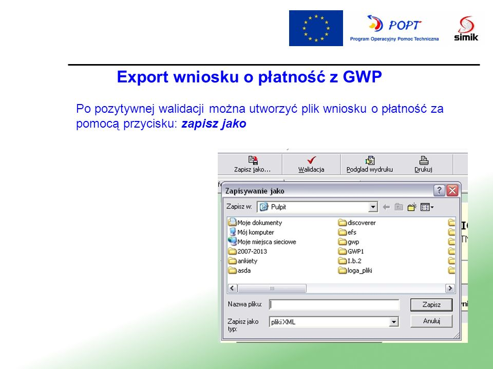 Export wniosku o płatność z GWP