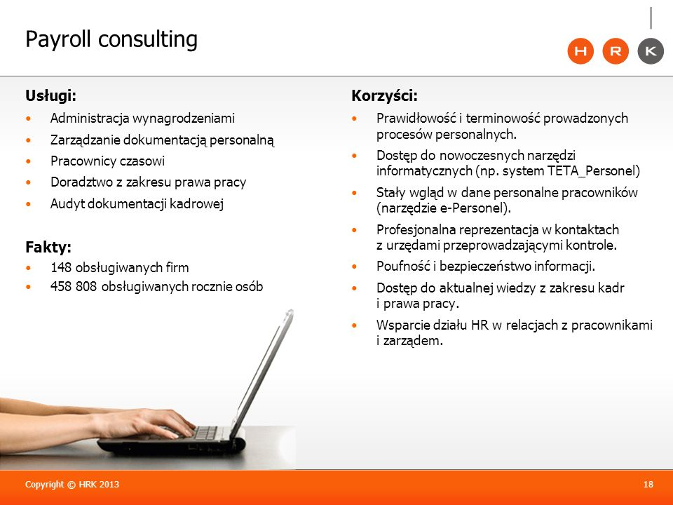 Payroll consulting Usługi: Fakty: Korzyści: