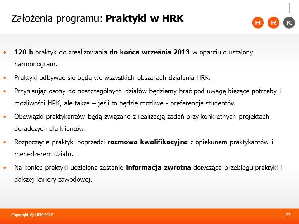Założenia programu: Praktyki w HRK