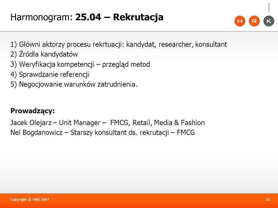 Harmonogram: 25.04 – Rekrutacja