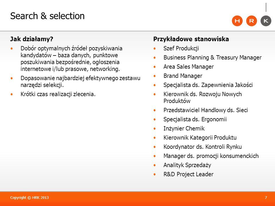 Search & selection Jak działamy Przykładowe stanowiska