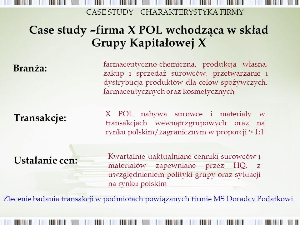 Case study –firma X POL wchodząca w skład Grupy Kapitałowej X