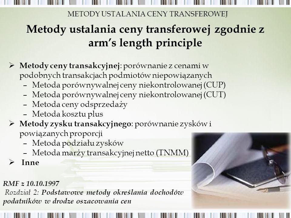 Metody ustalania ceny transferowej zgodnie z arm's length principle
