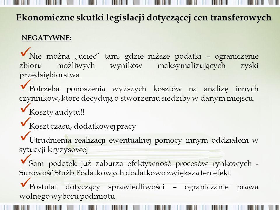 Ekonomiczne skutki legislacji dotyczącej cen transferowych