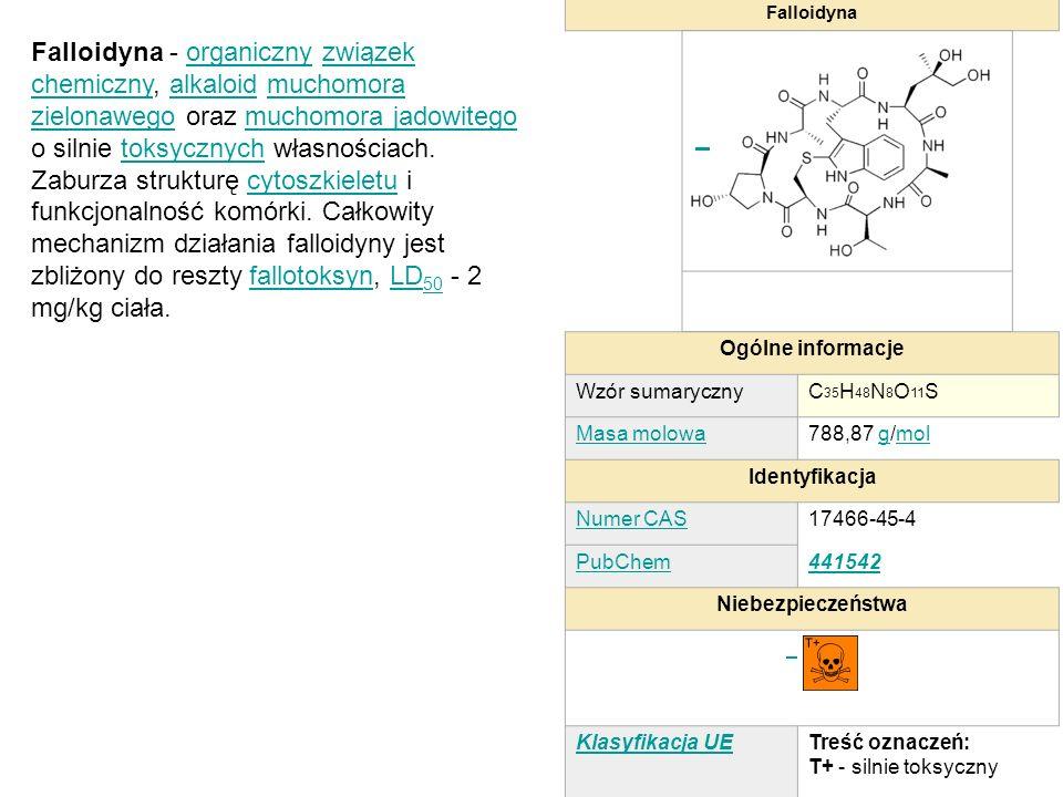 Falloidyna Ogólne informacje. Wzór sumaryczny. C35H48N8O11S. Masa molowa. 788,87 g/mol. Identyfikacja.