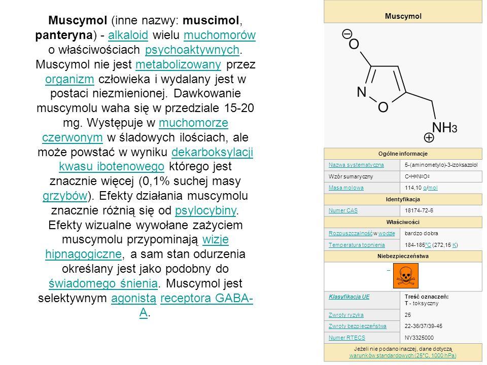 Muscymol Ogólne informacje. Nazwa systematyczna. 5-(aminometylo)-3-izoksazolol. Wzór sumaryczny.