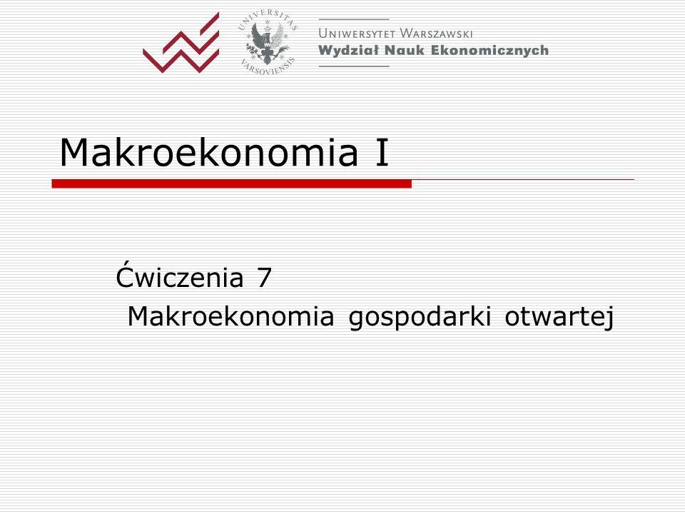 Ćwiczenia 7 Makroekonomia gospodarki otwartej