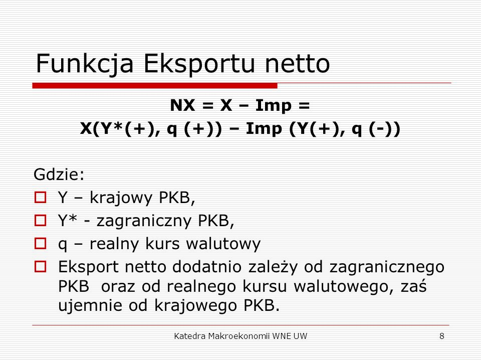 Funkcja Eksportu netto