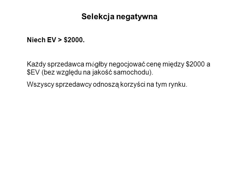 Selekcja negatywna Niech EV > $2000.
