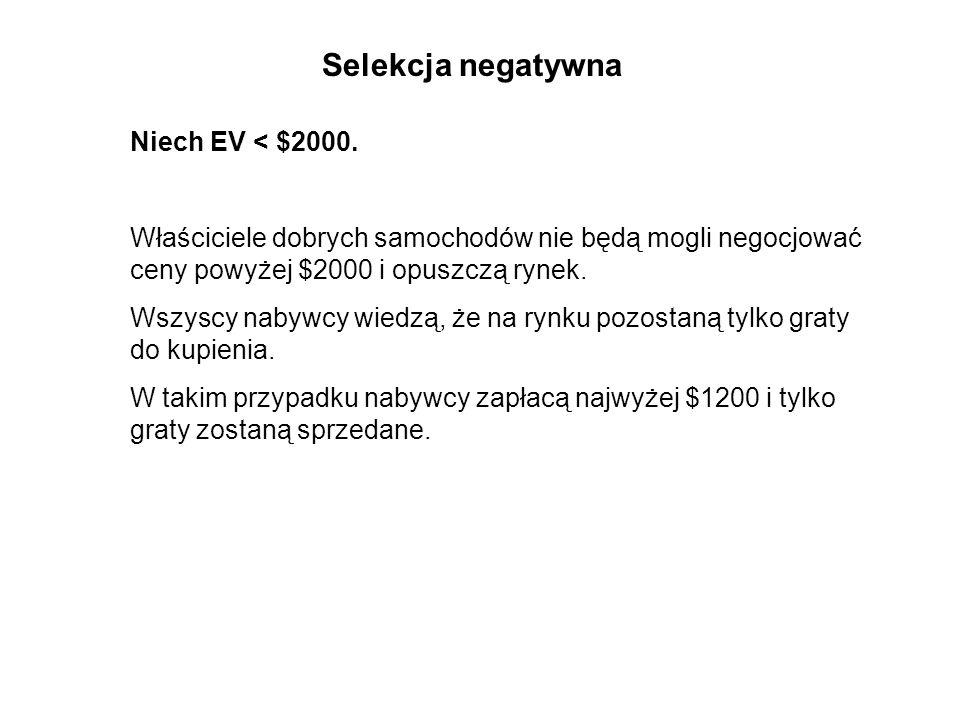 Selekcja negatywna Niech EV < $2000.