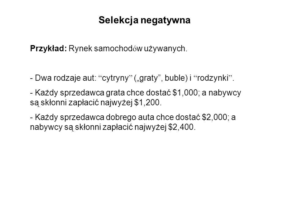 Selekcja negatywna Przykład: Rynek samochodów używanych.