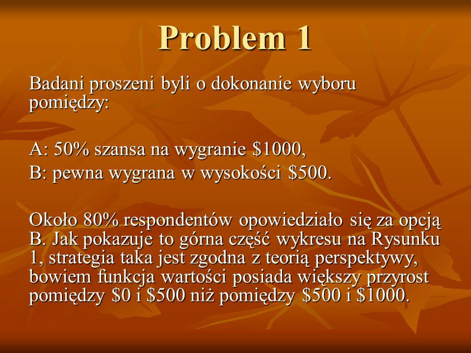 Problem 1 Badani proszeni byli o dokonanie wyboru pomiędzy: