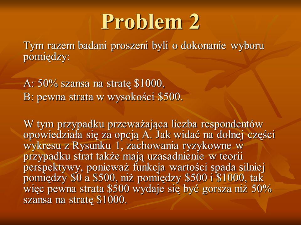 Problem 2 Tym razem badani proszeni byli o dokonanie wyboru pomiędzy: