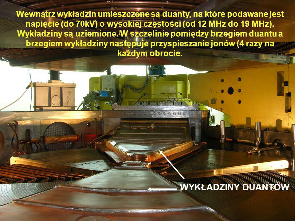Wewnątrz wykładzin umieszczone są duanty, na które podawane jest napięcie (do 70kV) o wysokiej częstości (od 12 MHz do 19 MHz). Wykładziny są uziemione. W szczelinie pomiędzy brzegiem duantu a brzegiem wykładziny następuje przyspieszanie jonów (4 razy na każdym obrocie.