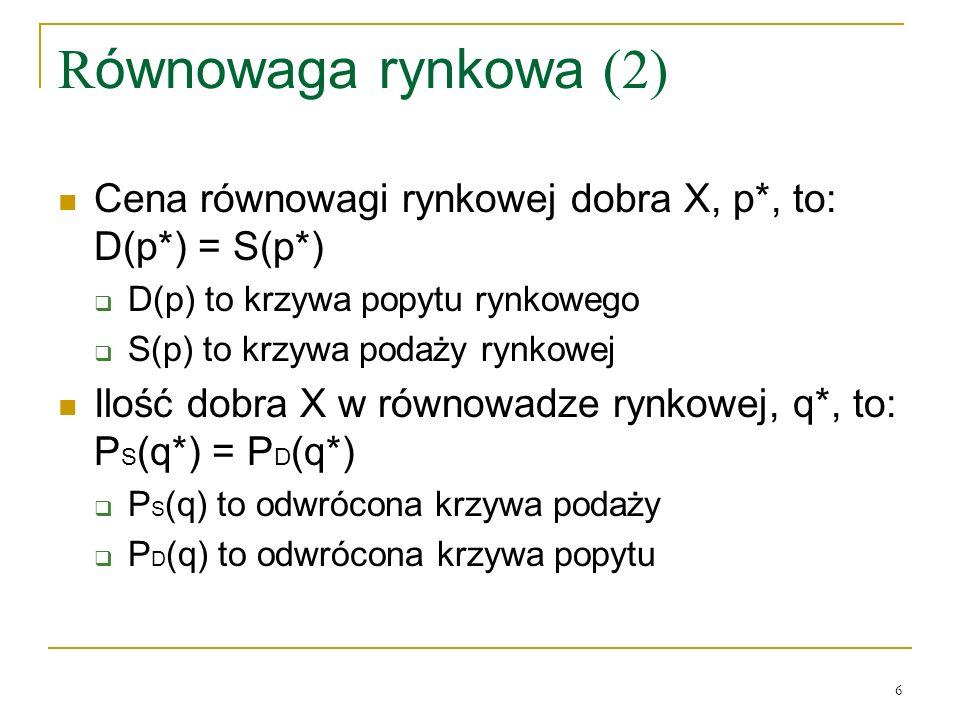 Równowaga rynkowa (2) Cena równowagi rynkowej dobra X, p*, to: D(p*) = S(p*)