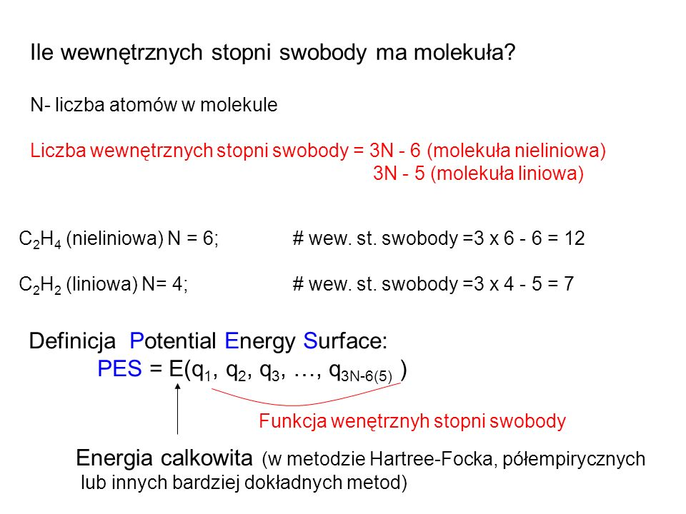 Ile wewnętrznych stopni swobody ma molekuła