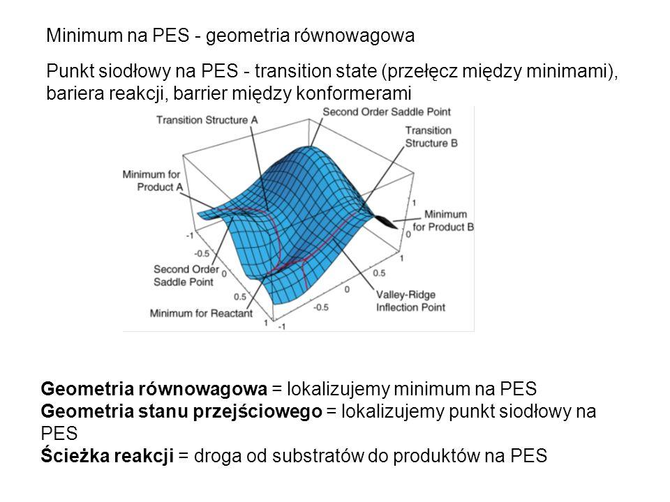 Minimum na PES - geometria równowagowa