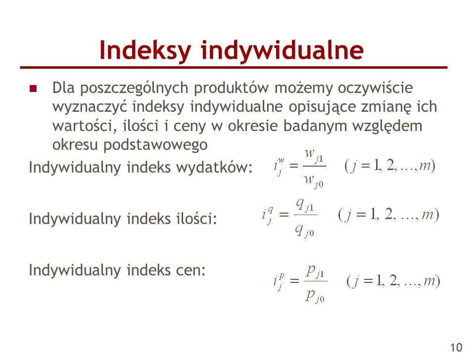 Indeksy indywidualne