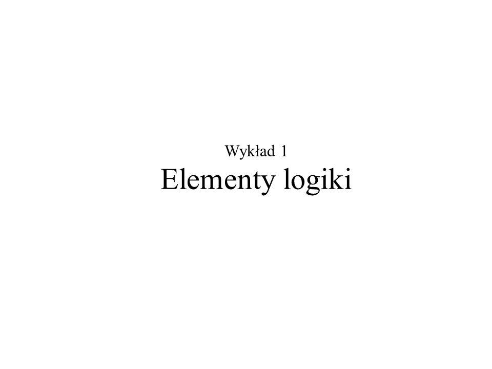 Wykład 1 Elementy logiki