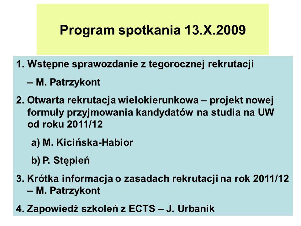 Program spotkania 13.X.2009 Wstępne sprawozdanie z tegorocznej rekrutacji. – M. Patrzykont.