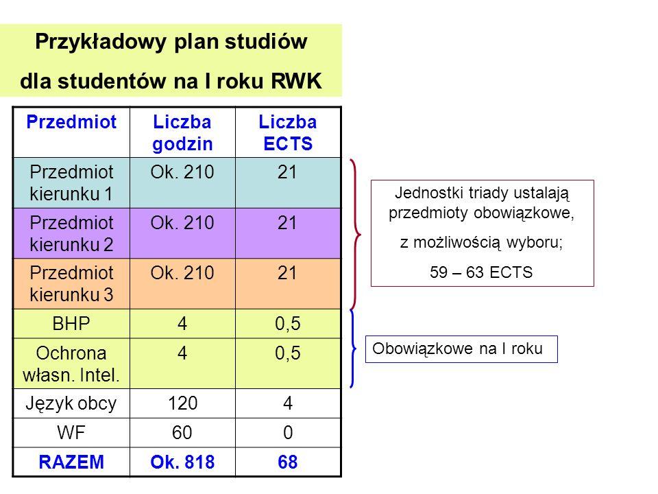 Przykładowy plan studiów dla studentów na I roku RWK