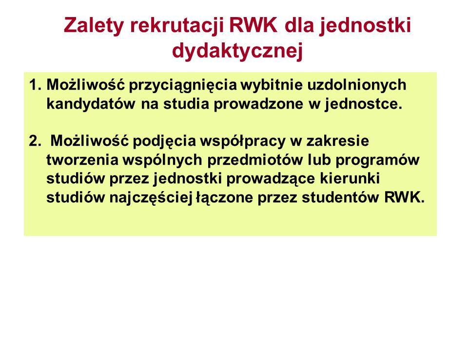 Zalety rekrutacji RWK dla jednostki dydaktycznej