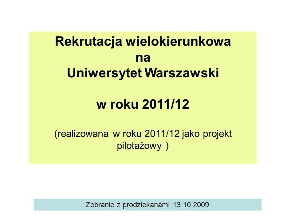 Rekrutacja wielokierunkowa Uniwersytet Warszawski