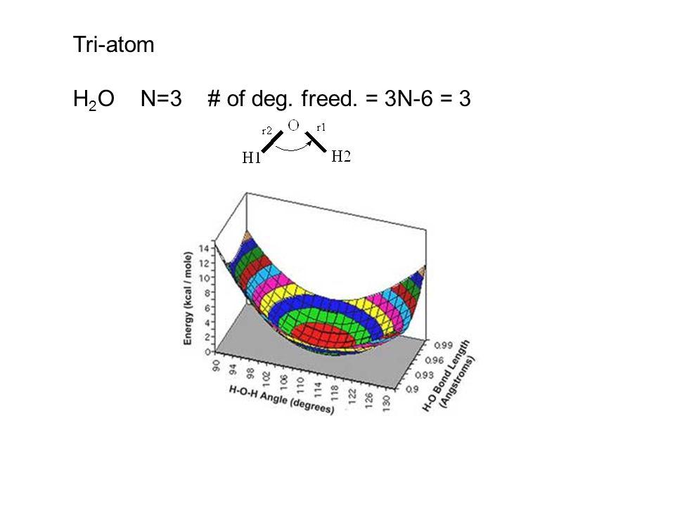 Tri-atom H2O N=3 # of deg. freed. = 3N-6 = 3
