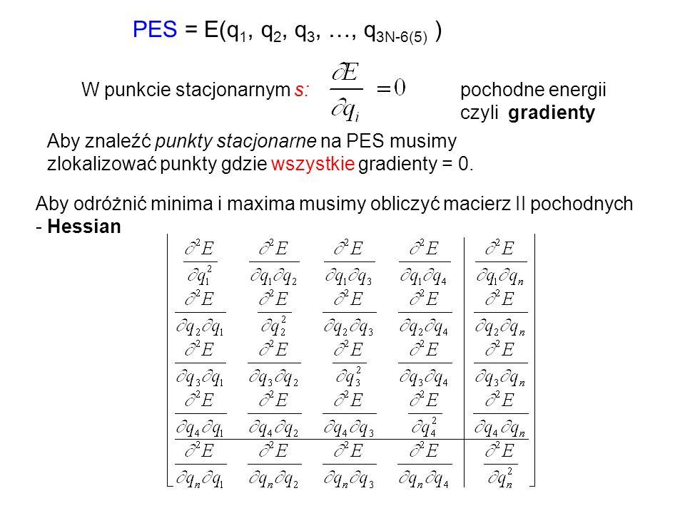PES = E(q1, q2, q3, …, q3N-6(5) ) W punkcie stacjonarnym s: