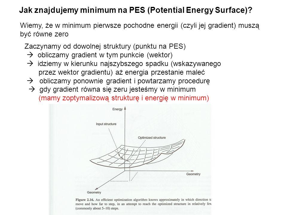 Jak znajdujemy minimum na PES (Potential Energy Surface)