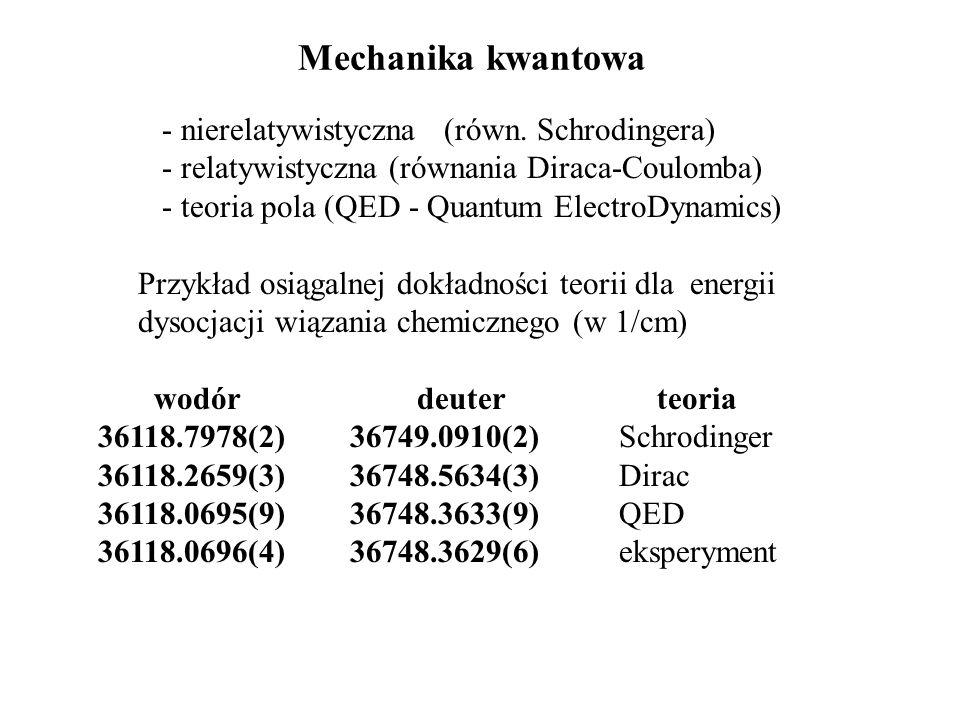 Mechanika kwantowa - nierelatywistyczna (równ. Schrodingera)