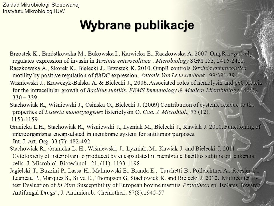 Zakład Mikrobiologii Stosowanej Instytutu Mikrobiologii UW