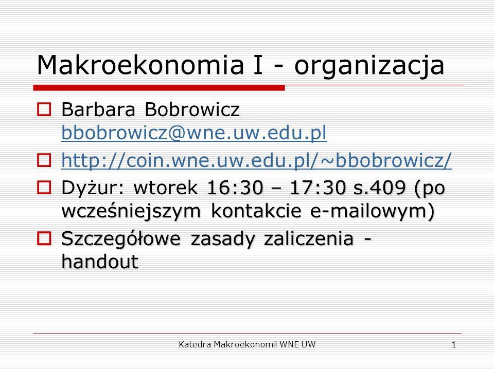 Makroekonomia I - organizacja