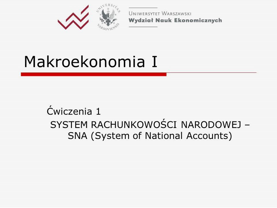 SYSTEM RACHUNKOWOŚCI NARODOWEJ – SNA (System of National Accounts)
