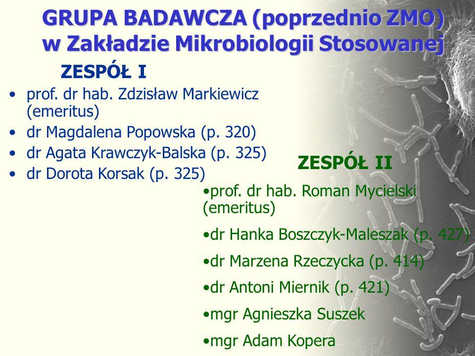 GRUPA BADAWCZA (poprzednio ZMO) w Zakładzie Mikrobiologii Stosowanej