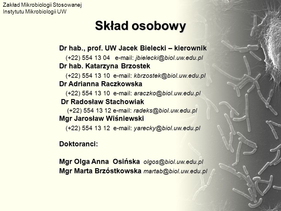 Skład osobowy (+22) 554 13 10 e-mail: kbrzostek@biol.uw.edu.pl