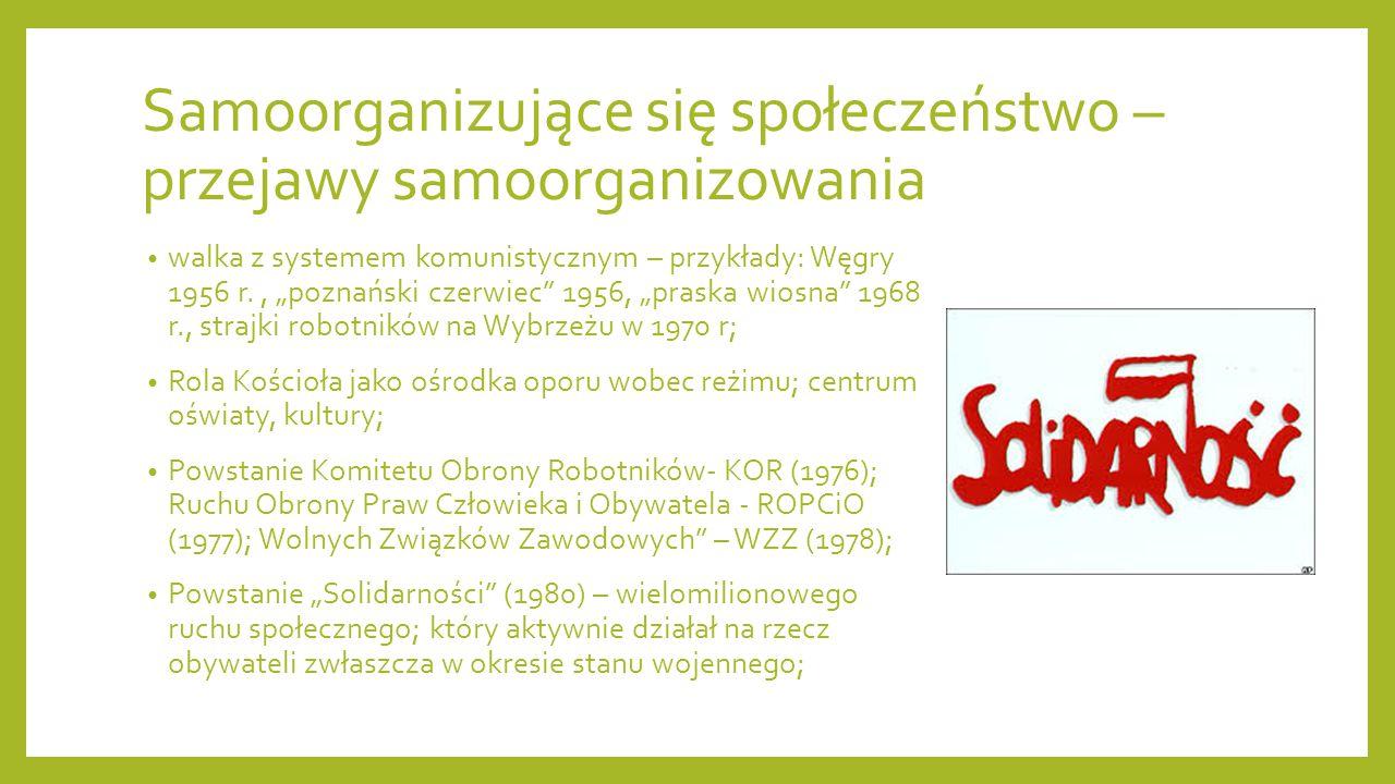 Samoorganizujące się społeczeństwo – przejawy samoorganizowania