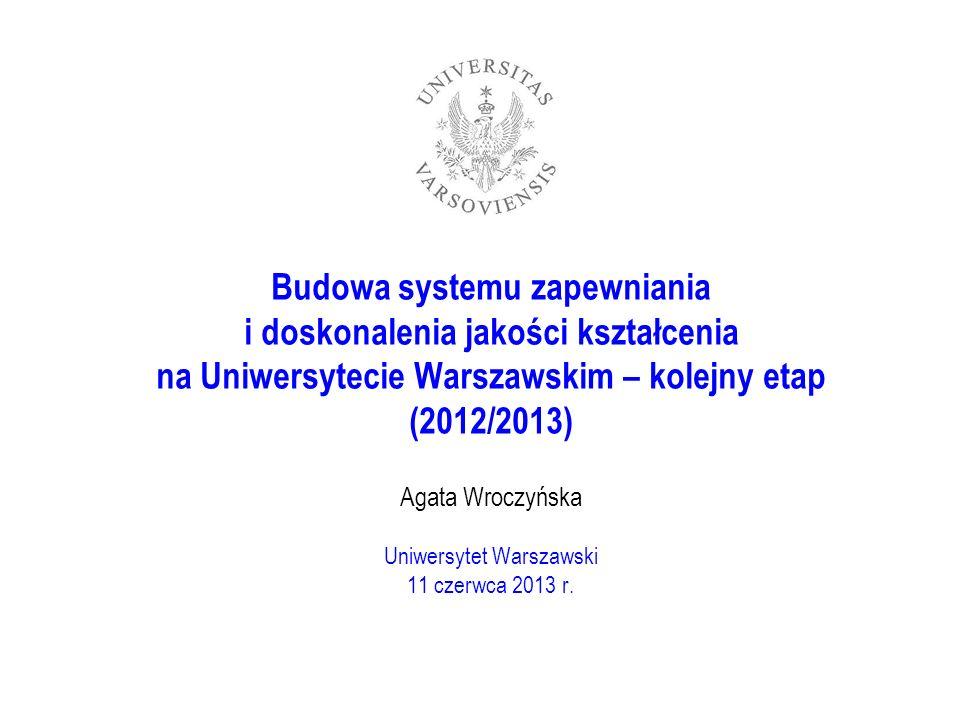 Budowa systemu zapewniania i doskonalenia jakości kształcenia na Uniwersytecie Warszawskim – kolejny etap (2012/2013) Agata Wroczyńska Uniwersytet Warszawski 11 czerwca 2013 r.