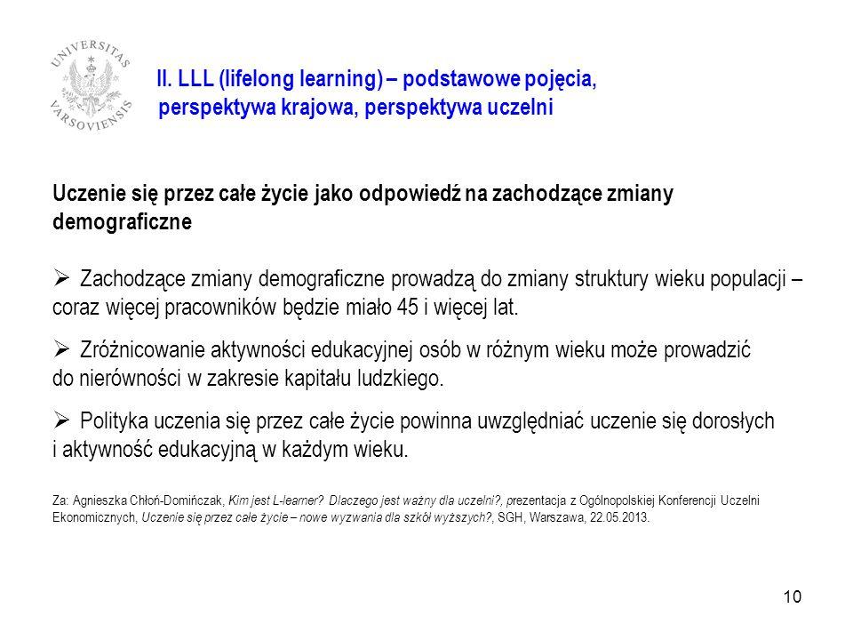 II. LLL (lifelong learning) – podstawowe pojęcia,