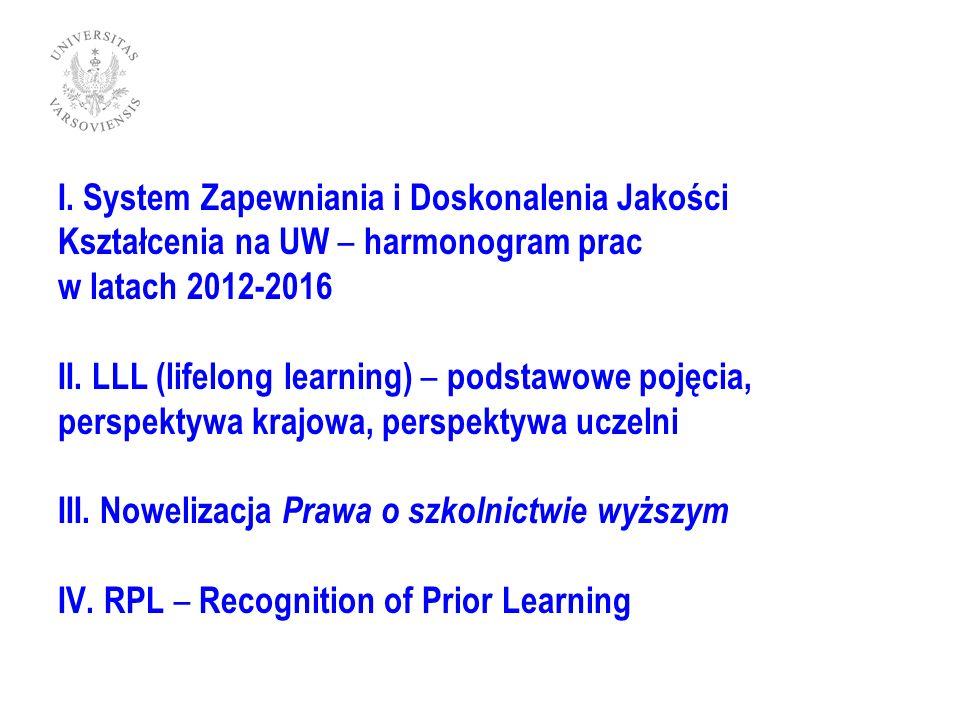 System Zapewniania i Doskonalenia Jakości Kształcenia na UW – harmonogram prac