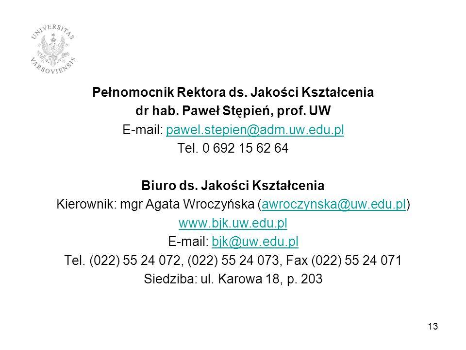 Pełnomocnik Rektora ds. Jakości Kształcenia dr hab. Paweł Stępień, prof. UW E-mail: pawel.stepien@adm.uw.edu.pl Tel. 0 692 15 62 64 Biuro ds. Jakości Kształcenia Kierownik: mgr Agata Wroczyńska (awroczynska@uw.edu.pl) www.bjk.uw.edu.pl E-mail: bjk@uw.edu.pl Tel. (022) 55 24 072, (022) 55 24 073, Fax (022) 55 24 071 Siedziba: ul. Karowa 18, p. 203